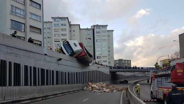 Imagen del lugar del accidente tras el desplome de la carga