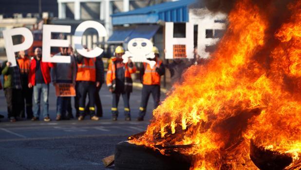 Protesta de los trabajadores de Alcoa en La Coruña