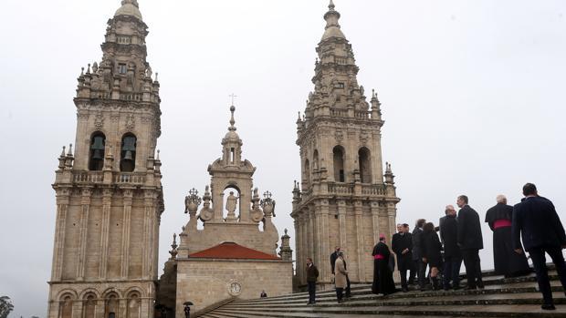 Las torres de la Catedral, durante la visita del Rey