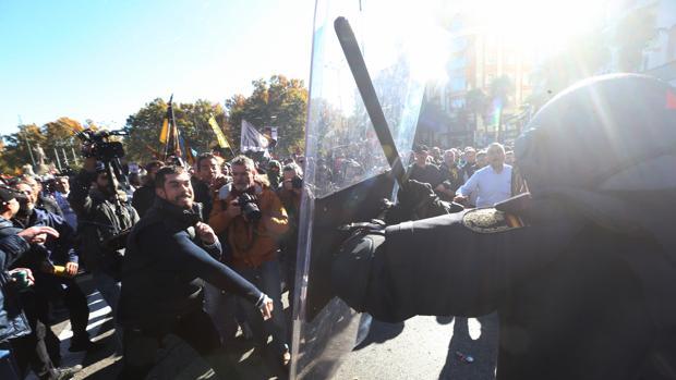 Intervención de la Policía Nacional en una manifestación