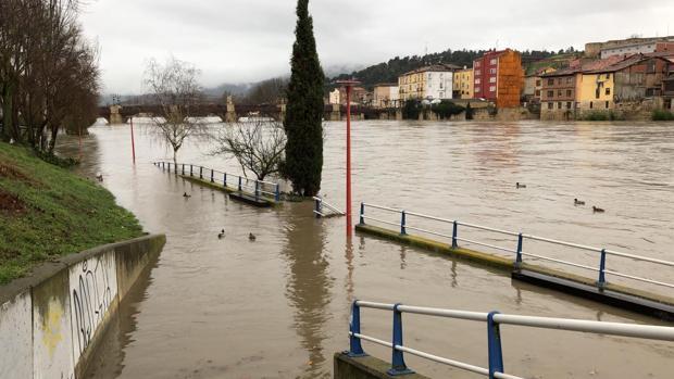 Crecida del río Ebro, a su paso por Miranda (Burgos)