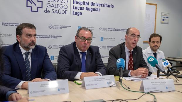 Jorge Aboal, Ramón Ares, Jesús Vázquez Almuíña y Carlos González Juanatey, en la presentación