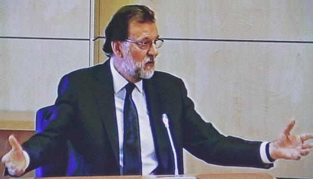 Mariano Rajoy, en su declaración como testigo en el juicio del caso Gürtel, en julio de 2017