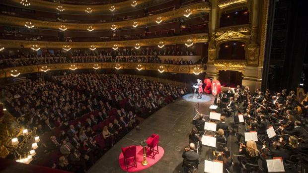 Acto de presentación de los fastos por el 20 aniversario de la reapertura del Liceu, el pasado febrero de 2017