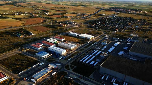 Vista aérea del polígono industrial de Villadangos del Páramo, en la provincia de León