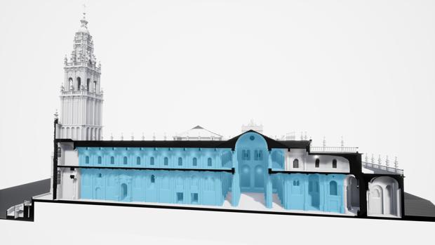 En azul, aquellas zonas de la Catedral de Santiago en las que se actuará