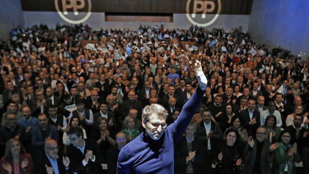 El líder del PPdeG y presidente de la Xunta, Alberto Núñez Feijóo, este sábado en Santiago