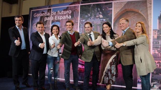 Pablo Casado junto a los candidatos del PP a las capitales de Castilla-La Mancha