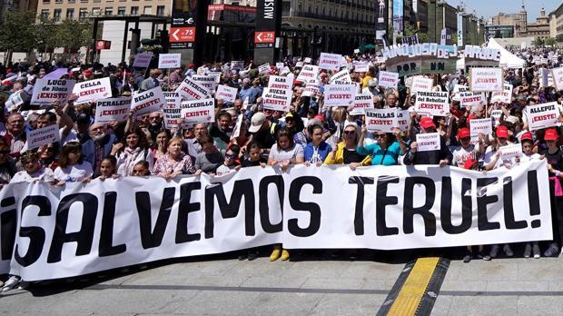 Imagen de archivo de una manifestación para reivindicar mejores servicios e inversiones para Teruel