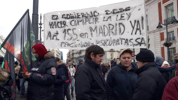 Los taxistas protestan, el pasado viernes, contra Ángel Garrido en la Puerta del Sol