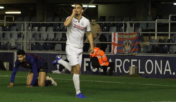 El delantero Pablo Aguilera celebra uno de los goles