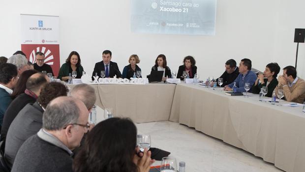 Román Rodríguez, en la reunión preparatoria del Xacobeo con agentes públicos y privados de Santiago