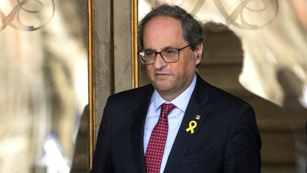 El presidente de la Generalitat, Quim Torra, hoy martes en las inmediaciones del Tribunal Supremo, en Madrid