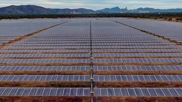 Placas fotovoltaicas en una planta de energía solar