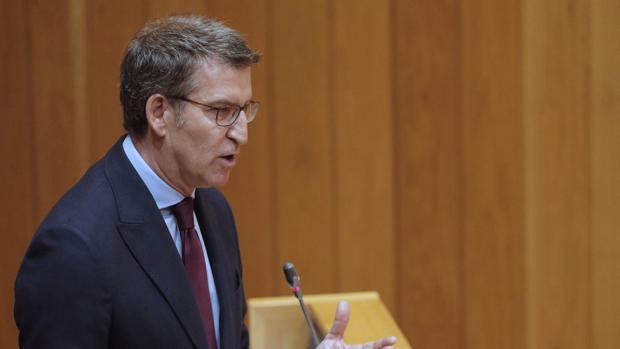 El presidente de la Xunta, Alberto Núñez Feijóo, este miércoles en el Parlamento