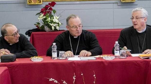 Obispos catalanes en la reunión de la Tarraconense celebrada esta semana