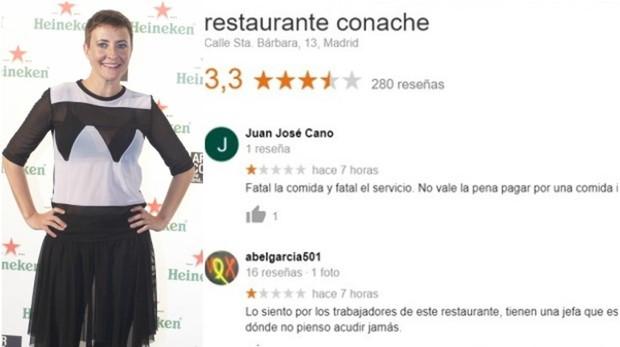 Eva Hache con reseñas falsas del restaurante