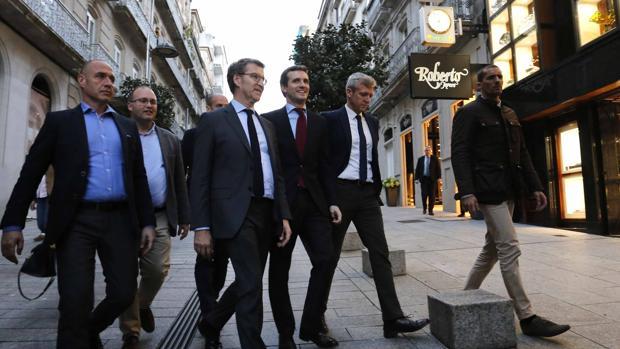 Feijóo y Casado, el pasado jueves, en la visita del presidente del PP a Vigo