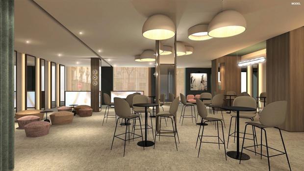 Una de las salas del futuro hotel
