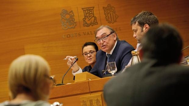 Arcadio Mateo, durante la comisión de investigación en las Cortes