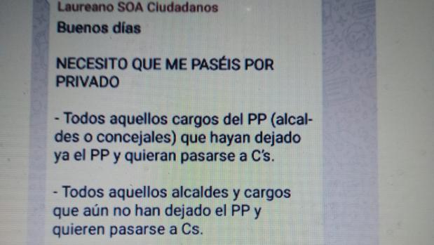 Pantallazo del mensaje filtrado y atribuido al secretario de Organización de Cs Galicia, Laureano Bermejo
