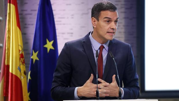 Pedro Sánchez, en una rueda de prensa ofrecida ayer