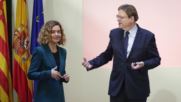 Meritxell Batet y Ximo Puig, tras la reunión de la comisión bilateral este jueves