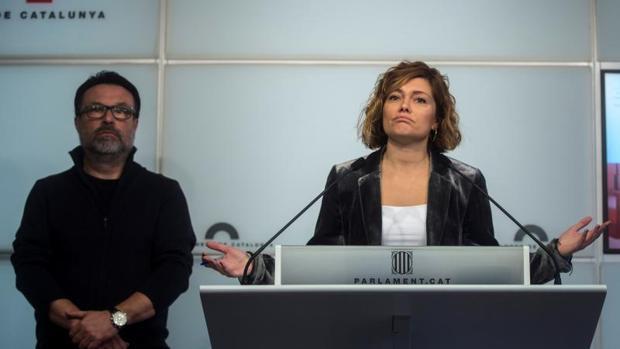 Nuet y Alamany, el miércoles, en la rueda de prensa del Parlamento de Cataluña