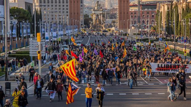 Protesta de los CDR en la plaza España de Barcelona