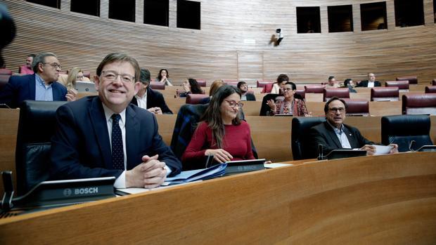 Ximo Puig y Mónica Oltra, este jueves en las Cortes Valencianas