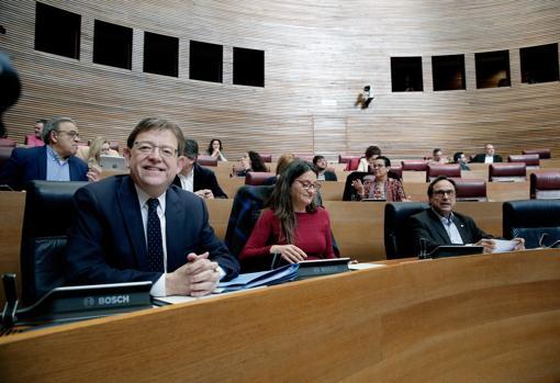 Imagen de Puig y Oltra junto al conseller Soler tomada este jueves