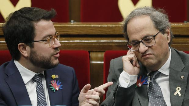Quim Torra y el vicepresidente Pere Aragonès esta semana en el Parlament