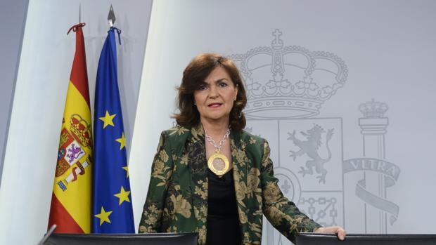 La vicepresidenta del Gobierno, Carmen Calvo, ayer en el Consejo de Ministros