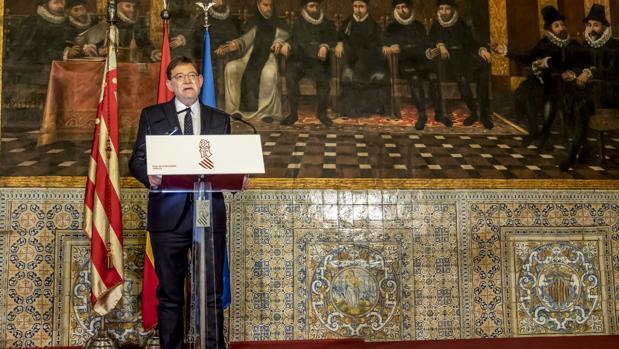 El presidente de la Generalitat, Ximo Puig, el pasado lunes durante el anuncio del adelanto electoral