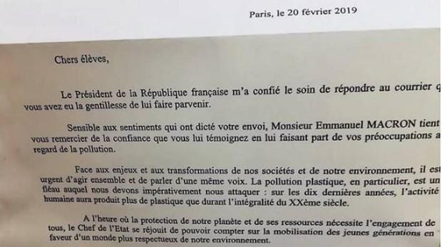 Carta de Emmanuel Macron a los alumnos del colegio La Navata
