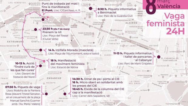 Imagen del recorrido de la manifestación feminista del 8M en Valencia