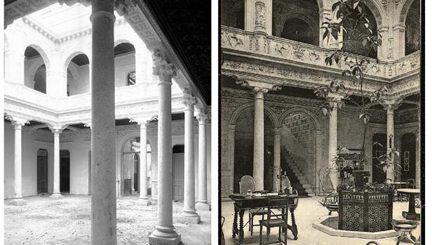 Patio del hotel durante las obras (1891) y años después. Foto de Alguacil y Postal de J. Lacoste (ca. 1908). Archivo Municipal de Toledo