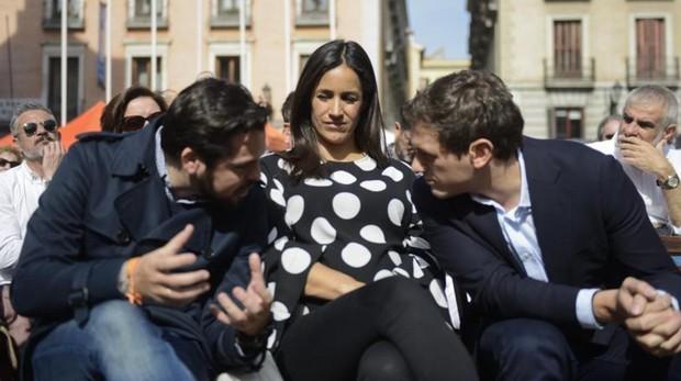 Villacís, junto a Fernando de Páramo y Albert Rivera en el acto de Ciudadanos con Arrimadas en Madrid