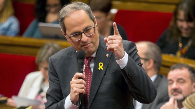 El presidente de la Generalitat, Quim Torra, en el pleno del Parlament en una imagen de archivo
