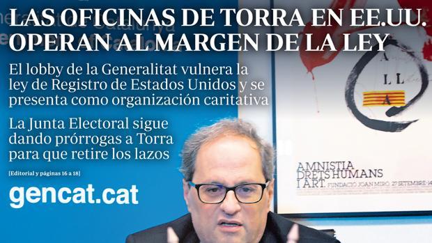 Portada de ABC del pasado 18 de marzo denunciando la dejación del gobierno catalán
