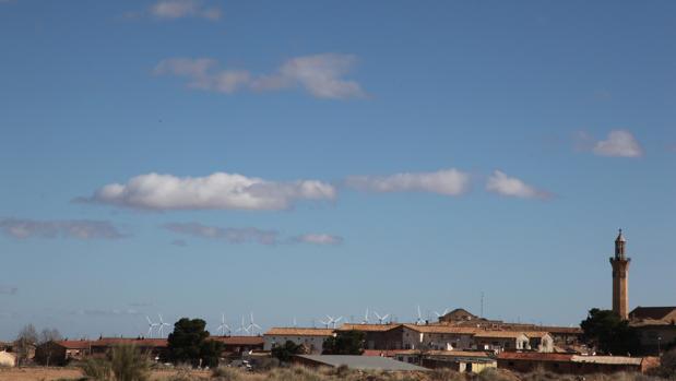 Vista de Belchite, centro de una de las comarcas más despobladas de España y con menos empleo