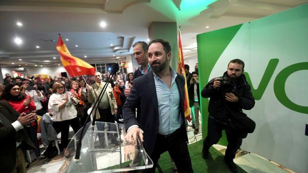 El presidente de Vox, Santiago Abascal, durante un mitin, en una imagen de archivo