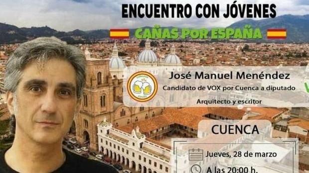 Cartel anunciador de un acto de «Cañas por España» de Vox en Cuenca
