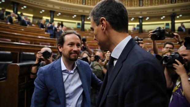 Sánchez e Iglesias, en el Congreso en una imagen de archivo