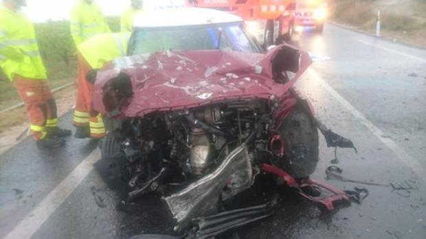 Uno de los coches implicados en el accidente