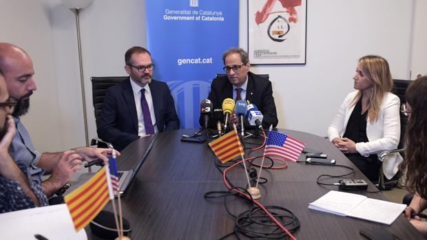 Quim Torra ofrece una rueda de prensa en el edificio de la Generalitat en Washington