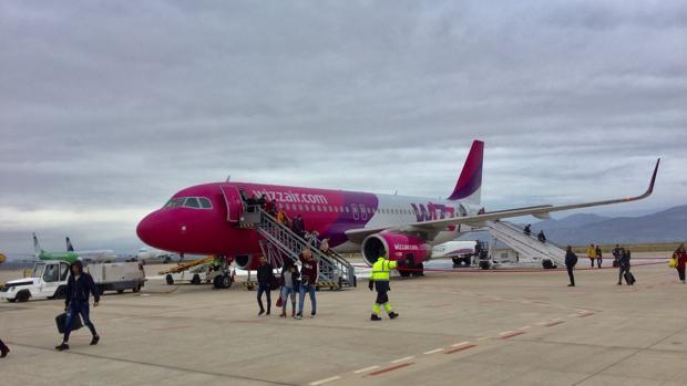 Imagen de la aerolínea Wizz Air en el aeropuerto de Castellón