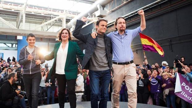 Lucía Martín, Ada Colau, Jaume Asens y Pablo Iglesias, este sábado en L'Hospitalet