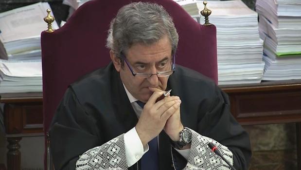 Javier Zaragoza, durante una de las sesiones del juicio contra los independentistas en el Tribunal Supremo