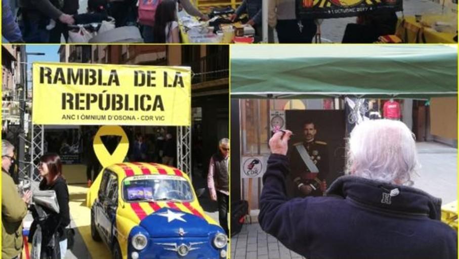Los CDR organizan un lanzamiento de dardos contra una imagen del Rey en pleno centro de Vic